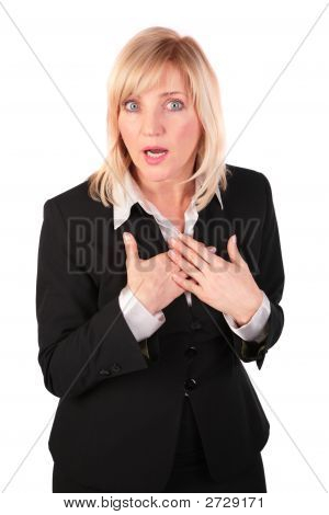 Middleaged Business Woman Surprised
