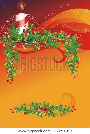 The raster version stock Vector Illustration: Christmas background.