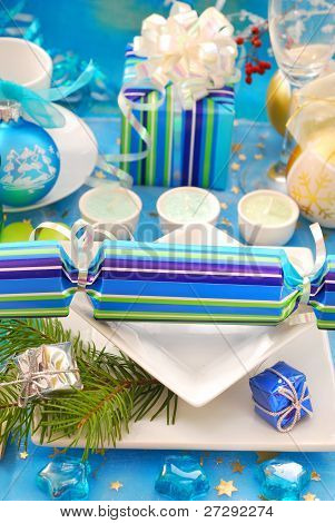 Festive Table With Christmas Cracker Decoration