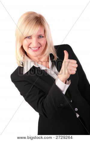 Middleaged Woman Gives Gesture Ok 2
