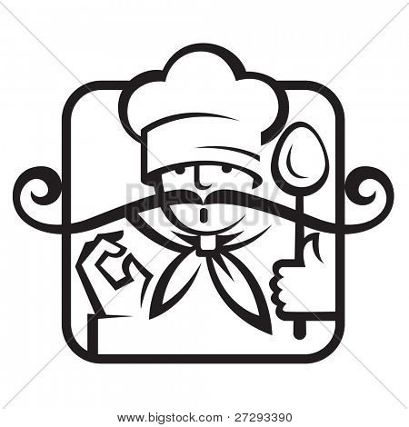 chef with a big mustache and a spoon in hand