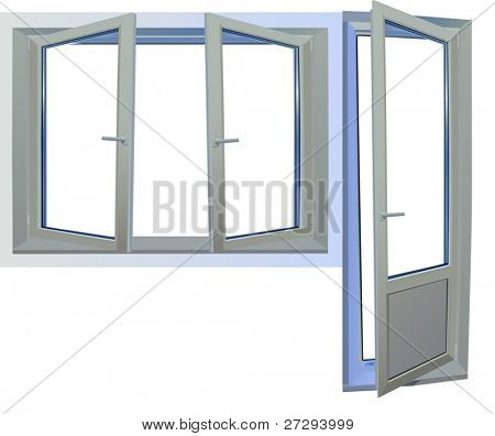 illustration with door and window isolated on white background