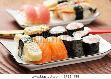 sushi set on the bamboo mat