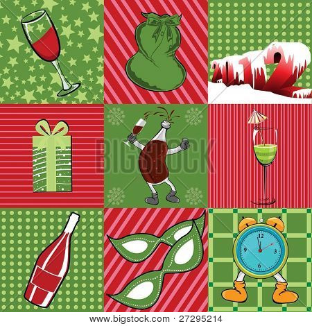 Seamless new year pattern having party mask, Gift boxes, Champagne Bottle, Clock, wine glass on red & green background.