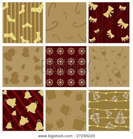 Seamless Christmas Pattern  with Christmas elements like gifts,candy cane,sock,tree,bow,floral,glass for Christmas & other Occasions.