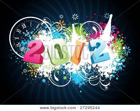 greeting card with text 2012 on grungy blue rays background for New Year, Party & Other occasions.