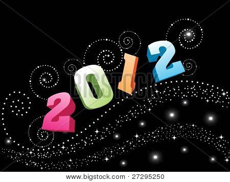 colorful text 2012 with shiny on Black background for New Year, Party & Other Occasions.