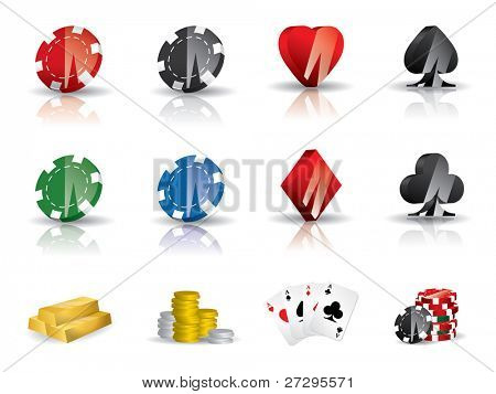 Gambling - poker icon set