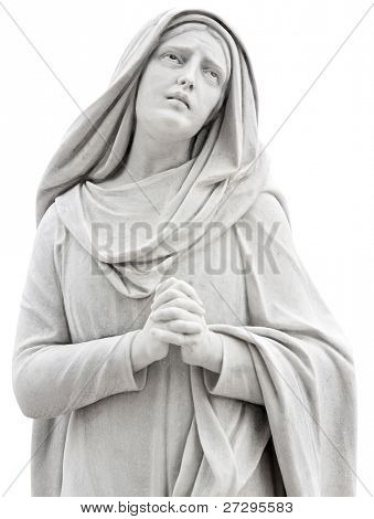 Beautiful statue of a religious woman praying isolated on white