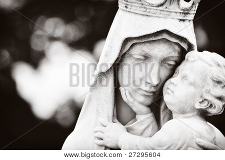 Monochromatic image of the Virgin Mary carrying the baby Jesus