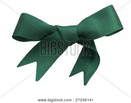 green sateen bow isolated