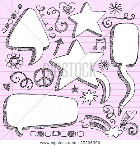 Sketchy 3-D Shaped Comic Book Style Speech Bubbles- Hand Drawn Notebook Doodles on Pink Lined Paper Background- Vector Illustration