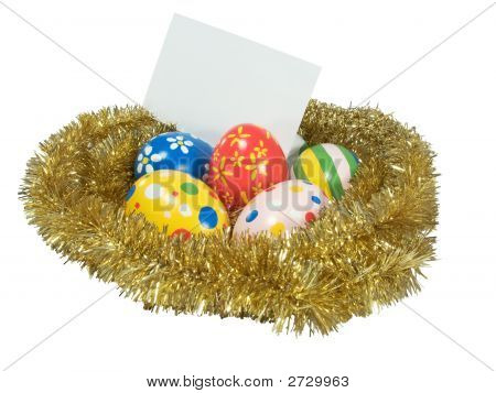 Real Hand Painted Easter Eggs In A Golden Nest With Blank Card