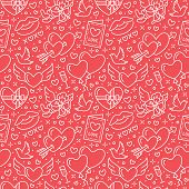 Valentines Day Seamless Pattern. Love, Romance Flat Line Icons - Hearts, Chocolate, Kiss, Cupid, Dov poster