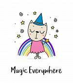 Cute Wizard Kitty Girl With Magic Wand. Flat Vector Animal Cartoon Illustration Card poster