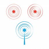 Blue Circle Signal. Wave Sound Or Radio Signals Vector poster