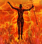 stock photo of she devil  - A devil woman surrounded by the flames of Hell - JPG