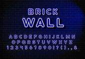 Realistic Neon Letters Of English Alphabet. Blue Alphabet Letters Set With Blue Glow Effect poster