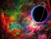 Exo planet in colorful universe. 3D rendering poster