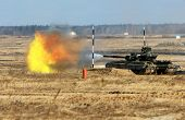 stock photo of abram  - tank shoot during the military training exercise - JPG