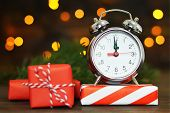 New Years Eve. Midnight Clock And Wrapped Gifts poster
