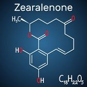 Zearalenone (zen) Mycotoxin Molecule. Structural Chemical Formula And Molecule Model On The Dark Blu poster