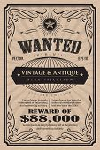 Western Vintage Frame Label Wanted Antique Hand Drawn Retro Vector Illustration poster