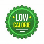 Green Low-calorie Product Label On White Background. Vector poster