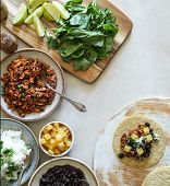Homemade vegan taco ingredients on the table poster