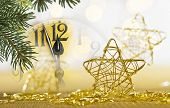 Detail Of Clock Face And Christmas Twig Before Midnight poster