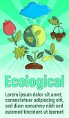 Ecological Concept Banner. Cartoon Banner Of Ecological Vector Concept For Web, Giftcard And Postcar poster