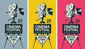 Set Of Three Vector Posters For Cinema Festival With Old Fashioned Movie Camera On The Tripod In Ret poster