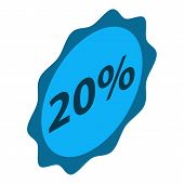 Minus 20 Percent Sale Icon. Isometric Of Minus 20 Percent Sale Vector Icon For Web Design Isolated O poster