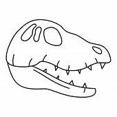 Dinosaur Skull Head Icon. Outline Dinosaur Skull Head Vector Icon For Web Design Isolated On White B poster