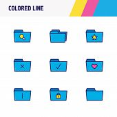 Vector Illustration Of 9 Folder Icons Colored Line. Editable Set Of Protection, Checked Folder, Dele poster