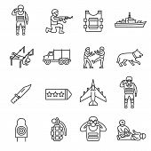 Military Service, Icon Set. Army, Servicemen, Linear Icons. Line With Editable Stroke. Training And  poster