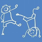Two Boys Playing - One Stands On His Head, And The Second Goes To Him. Style Of Childrens Drawing. V poster