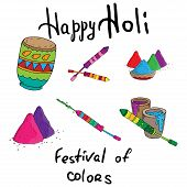 Hand Drawn Colorful Happy Holi Background For Festival Of Colors Celebration Greetings. Indian Holid poster