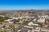 Tempe, Arizona Skyline Viewed From The Southeast To The Northwest From Above With Clear Blue Sunny S poster