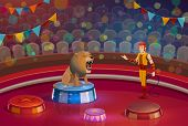 Circus Show And Trained Lion Animal On Stage. Handler And Wild Beast And Man In Stage Costume, Dange poster