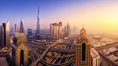 Dubai Skyline At Sunset, Panoramic Aerial Top View To Downtown City Center Landmarks. Famous Viewpoi poster