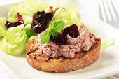 stock photo of canard  - Appetizing pate sandwich with finest cranberry sauce - JPG
