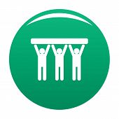 Strong Teamwork Icon. Simple Illustration Of Strong Teamwork Icon For Any Design Green poster