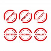 Red Quality Mark Stamps. Premium Seals For Consumerism Stamp poster