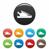 Rap Sneakers Icons Set 9 Color Isolated On White For Any Design poster