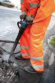 stock photo of road construction  - repair of roads - JPG