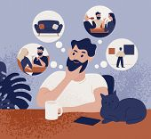 Thoughtful Bearded Man Sitting At Table And Thinking Of Leisure Or Recreational Activities To Choose poster