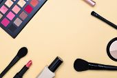 Professional Makeup Products With Cosmetic Beauty Products, Foundation, Lipstick,  Eye Shadows, Eye  poster