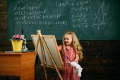 Creative Artist Painting On Studio Easel. Little Artist Girl Creating Picture In Class. poster