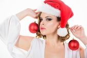 Prepare For Christmas. Makeup Idea For Corporate Party. Girl With Makeup And Hairstyle Ready To Cele poster